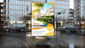 Real estate advertisement on billboard on city downtown. Real estate advertising billboard on city downtown 3d rendering vector illustration