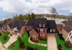 Real Estate Aerial Photography. Aerial Photography of a real estate property for sale. This property is situated on a man made lake stock photography