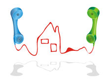 Real Estate Agency. Vector illustration with two phone receivers and a house, symbol for real estate agency Stock Photos