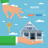 Real estate agency. Real estate agent with house model and key vector illustration. Commercial background. Real estate business concept with house. Family dream Royalty Free Stock Photo