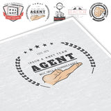 Real estate agency. Buy, Sell and Consultancy. Detailed elements. Old retro vintage grunge. Mockup style. Typographic Stock Photo