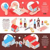 Real Estate Agency Isometric Banners vector illustration
