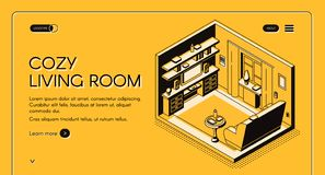 Home living room interior isometric vector website stock illustration