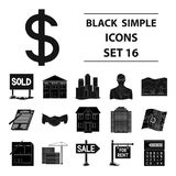 Real estate agency and other attributes. Realtor set collection icons in black style vector symbol stock illustration.  Stock Photo