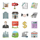 Real estate agency and other attributes. Realtor set collection icons in cartoon style vector symbol stock illustration.  Stock Photos
