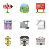 Real estate agency and other attributes. Realtor set collection icons in cartoon style vector symbol stock illustration Royalty Free Stock Photos