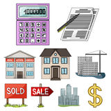 Real estate agency and other attributes. Realtor set collection icons in cartoon style vector symbol stock illustration.  Stock Photo