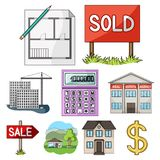 Real estate agency and other attributes. Realtor set collection icons in cartoon style vector symbol stock illustration.  Royalty Free Stock Photos