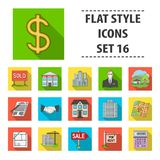 Real estate agency and other attributes. Realtor set collection icons in flat style vector symbol stock illustration web. Real estate agency and other attributes Stock Images