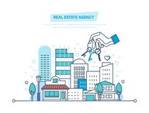 Real estate agency. Sale, rent of commercial, private real estate. Real estate agency. Sale and rent of commercial, private real estate. Working, business deals Royalty Free Stock Images