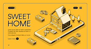 Real estate home online buy vector halftone line. Real estate agency service vector illustration in isometric thin line on yellow halftone background. Sweet home royalty free illustration