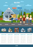 Real estate agency website template. Real estate agent with big key and happy family near house vector illustration. Commercial background. Family dream home Royalty Free Stock Image