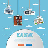 Real estate agency website template. Vector illustration. Commercial background. Real estate business concept with houses. Family dream home. Trading house Stock Image
