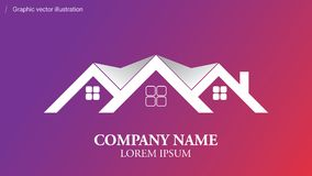 Modern conceptual logo usable in any field of bussines. Real estate agencyl logo - Editable company name - Usable for it, software, sale bussines, agency, Usable Stock Photo