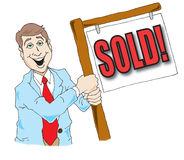Real Estate Agent. Vector image of a real estate agent holding a sold sign Stock Photography