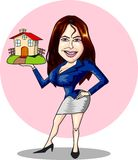 Real estate agent. A real estate agent holding a toyhouse Royalty Free Stock Photos