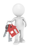 Real Estate Agent. 3D little human character holding a pair of House Keys. Red Stock Images