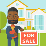 Real estate agent. An african-american real estate agent with beard and glasses holding the document and placard for sale on house background vector flat design vector illustration