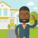 Real estate agent. An african-american real estate agent with beard and glasses holding key on house background vector flat design illustration. Square layout stock illustration