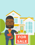 Real estate agent. An african-american hipster real estate agent with beard and glasses holding the document and placard for sale on house background vector flat vector illustration