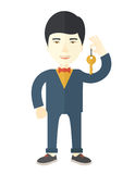Real estate agent. An asian real estate agent holding key vector flat design illustrationisolated on white background. Vertical layout stock illustration