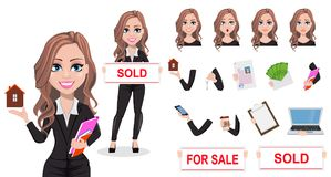 Beautiful realtor woman. A real estate agent. A real estate agent cartoon character. Beautiful realtor woman. Cute business woman. Pack of body parts, emotions Royalty Free Illustration