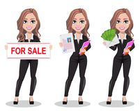 Beautiful realtor woman. A real estate agent. A real estate agent cartoon character, set of three poses. Beautiful realtor woman holding banner for sale, holding Stock Illustration