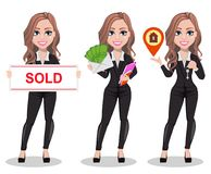 Beautiful realtor woman. A real estate agent. A real estate agent cartoon character, set of three poses. Beautiful realtor woman holding banner with text Sold royalty free illustration
