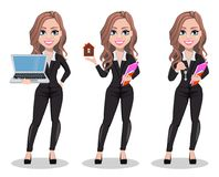Beautiful realtor woman. A real estate agent. A real estate agent cartoon character, set of three poses. Beautiful realtor woman holding laptop, holding model of Stock Illustration