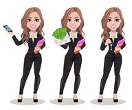 Beautiful realtor woman. A real estate agent. A real estate agent cartoon character, set of three poses. Beautiful realtor woman holding smartphone, holding Royalty Free Illustration