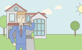 Real estate agent. A caucasian real estate agent holding key on house background. Vector line design illustration. Horizontal layout with a text space for a vector illustration