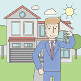 Real estate agent. A caucasian real estate agent holding key on house background. Vector line design illustration. Square layout vector illustration