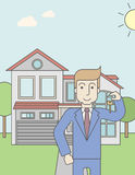 Real estate agent. A caucasian real estate agent holding key on house background. Vector line design illustration. Vertical layout with a text space for a social vector illustration