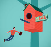 Real estate agent is flying. Real estate agent with a suitcase is flying to the red birdhouse royalty free illustration