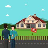 Real estate agent giving house keys to his client in front of the sold house. Real Estate concept vector illustration Royalty Free Stock Photos