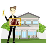 A real estate agent holding the document for the for sale house. Vector flat design illustration stock illustration
