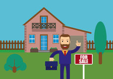Real Estate Agent Holding. The document for the for sale house. Vector flat design illustration vector illustration