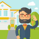 Real estate agent holding a key infront of the. A caucasian real estate agent standing and holding a key infront of the house. A Contemporary style with pastel vector illustration