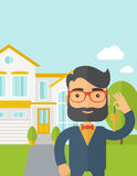 Real estate agent holding a key infront of the. A caucasian real estate agent standing and holding a key infront of the house. A Contemporary style with pastel stock illustration