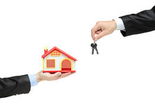 Real estate agent holding keys Royalty Free Stock Image