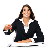 Real estate agent with house keys Royalty Free Stock Images