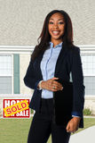 Real Estate Agent inf Front of Sold Home royalty free stock image