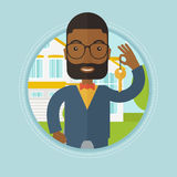 Real estate agent with key vector illustration. royalty free illustration