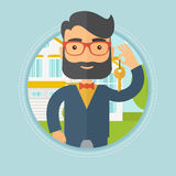Real estate agent with key vector illustration. vector illustration