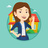 Real estate agent with key vector illustration. Stock Image