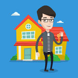 Real estate agent with key vector illustration. Royalty Free Stock Photos
