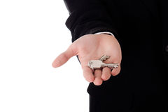 Real estate agent with keys Royalty Free Stock Photography