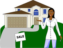 A real estate agent with keys advertising a house Royalty Free Stock Photos