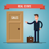 Real estate agent near the door bought apartments. Flat illustration Stock Photo