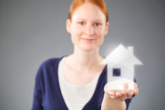 Real Estate Agent with a New House Stock Photography